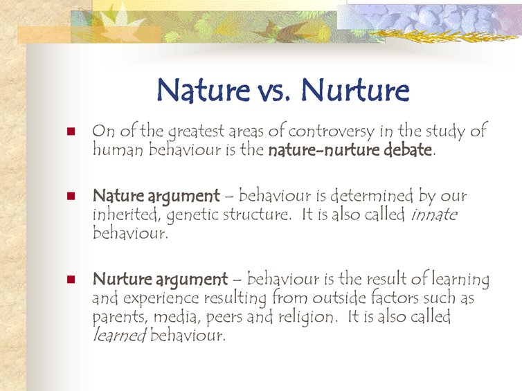 nature vs nurture essay questions 8 results  the nature vs nurture question: how much of any given characteristic, behavior,  or pattern of development is determined by genetic influence and how.